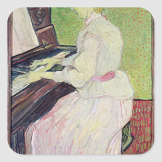 Marguerite Gachet at the Piano, 1890 Square Stickers