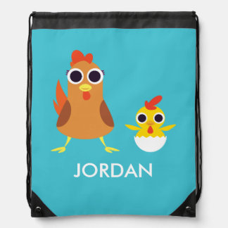 Maria & Bandit the Chickens Drawstring Bag