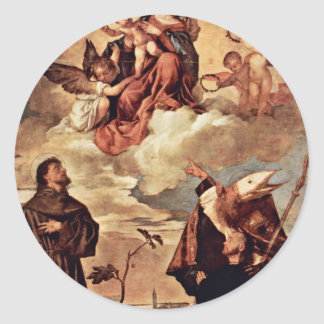 Maria In Glory With Christ Child And Angels Round Sticker