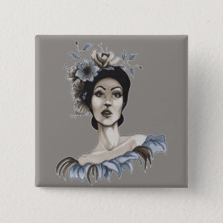 Maria plates Woman with Flowers - 15 Cm Square Badge