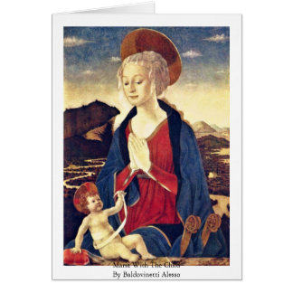 Maria With The Child By Baldovinetti Alesso Greeting Card