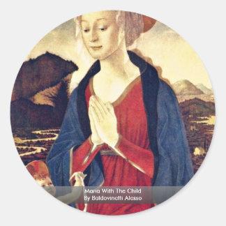 Maria With The Child By Baldovinetti Alesso Round Sticker