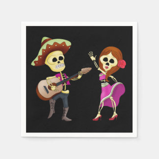 Mariachi Dancing Couple Day of the Dead Disposable Serviette