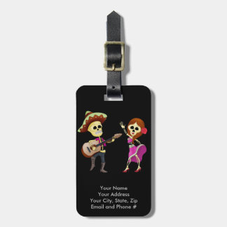Mariachi Dancing Couple Day of the Dead Luggage Tag