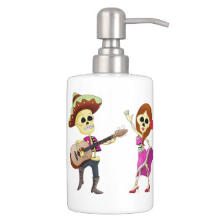 Mariachi Dancing Couple Day of the Dead Soap Dispenser And Toothbrush Holder