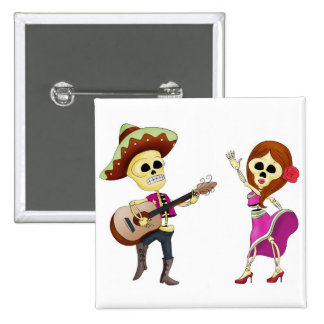Mariachi Dancing Day of the Dead Couple 15 Cm Square Badge