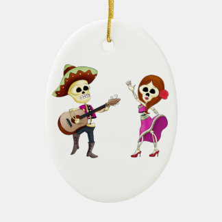 Mariachi Dancing Day of the Dead Couple Christmas Ornament