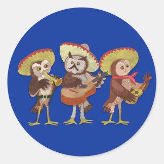Mariachi Owl band Round Sticker