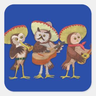 Mariachi owl trio square sticker