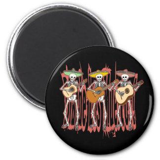 Mariachi Skeleton Trio 6 Cm Round Magnet