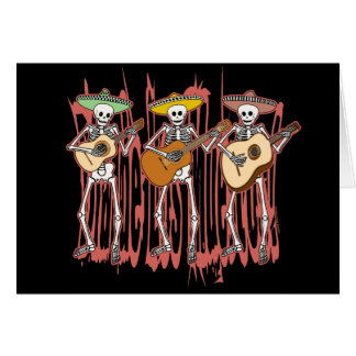 Mariachi Skeleton Trio Card