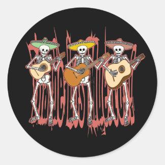Mariachi Skeleton Trio Classic Round Sticker