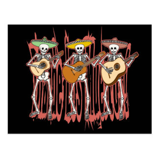 Mariachi Skeleton Trio Postcard
