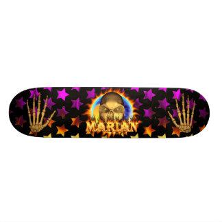 Marian skull real fire and flames skateboard desig