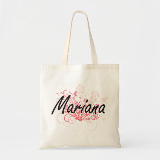 Mariana Artistic Name Design with Flowers Budget Tote Bag