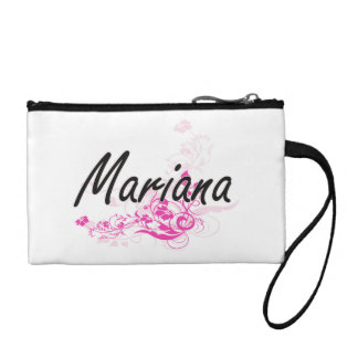 Mariana Artistic Name Design with Flowers Coin Purses