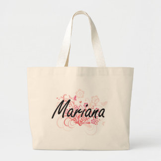 Mariana Artistic Name Design with Flowers Jumbo Tote Bag