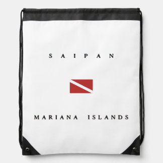 Mariana Islands Saipan Scuba Dive Flag Drawstring Backpack
