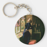 Mariana Woman with Stained Glass Basic Round Button Key Ring