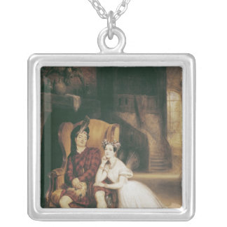Marie and Paul Taglioni the ballet 'La Sylphide' Square Pendant Necklace