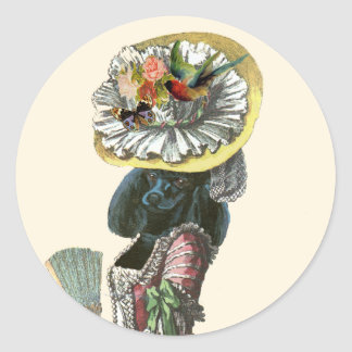 Marie Antionette Black Poodle 18th Century Costume Round Sticker