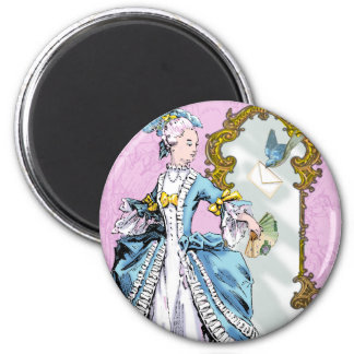 Marie Antoinette and Bluebird 6 Cm Round Magnet
