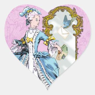 Marie Antoinette and Bluebird Heart Sticker