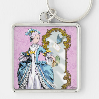 Marie Antoinette and Bluebird Silver-Colored Square Key Ring