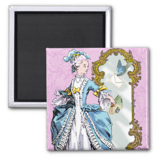 Marie Antoinette and Bluebird Square Magnet