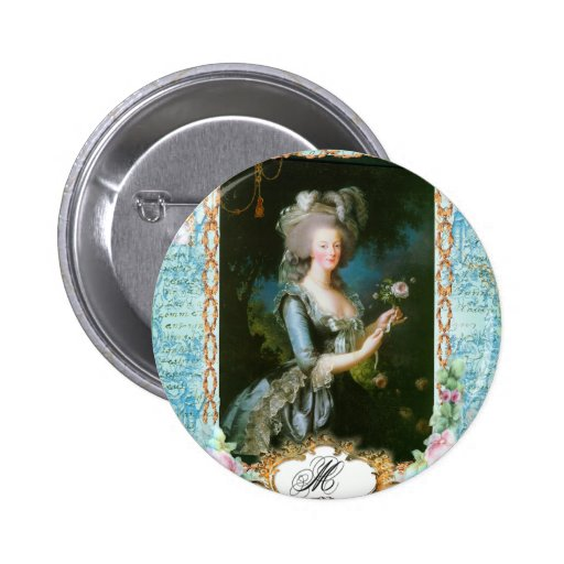 Marie Antoinette and Pink Roses 6 Cm Round Badge