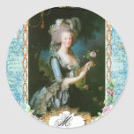 Marie Antoinette and Pink Roses Round Stickers