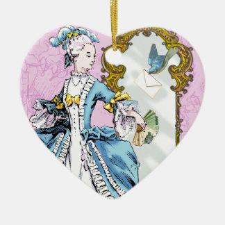 Marie Antoinette & Bluebird Ceramic Heart Decoration