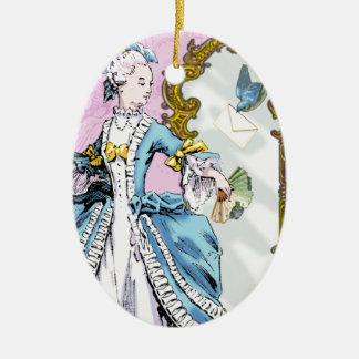 Marie Antoinette & Bluebird Ceramic Oval Decoration