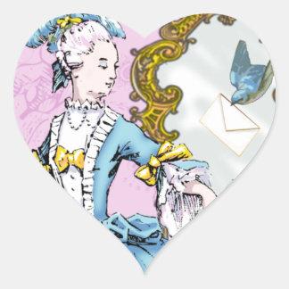 Marie Antoinette & Bluebird Heart Sticker