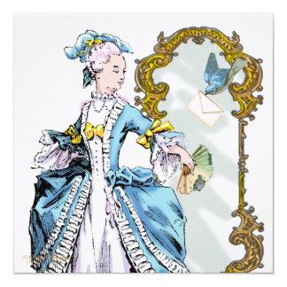 Marie Antoinette Bluebird & Mirror 13 Cm X 13 Cm Square Invitation Card