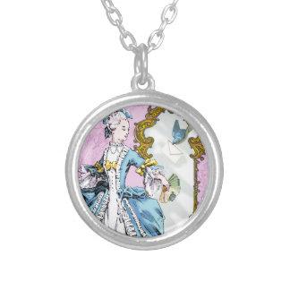 Marie Antoinette & Bluebird Round Pendant Necklace