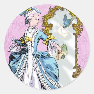 Marie Antoinette & Bluebird Round Sticker