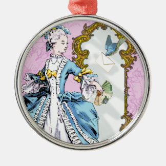 Marie Antoinette & Bluebird Silver-Colored Round Decoration