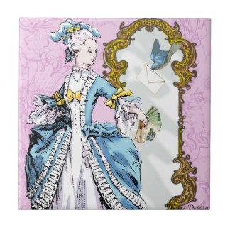 Marie Antoinette & Bluebird Small Square Tile