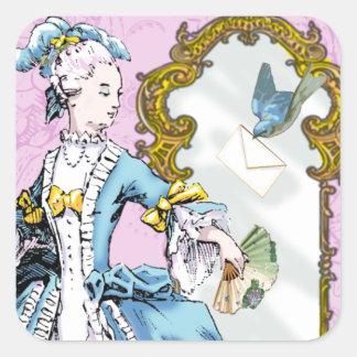 Marie Antoinette & Bluebird Square Sticker