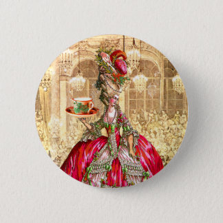 Marie Antoinette Christmas Tea Party Button Pin