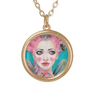 Marie Antoinette Cupcake Faerie - Queen Bee Round Pendant Necklace