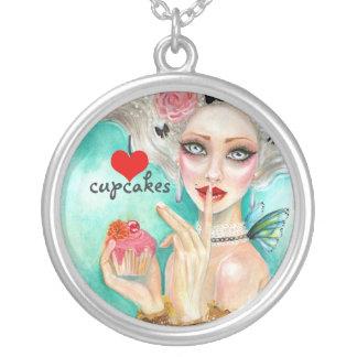 Marie Antoinette Cupcake Queen Round Pendant Necklace