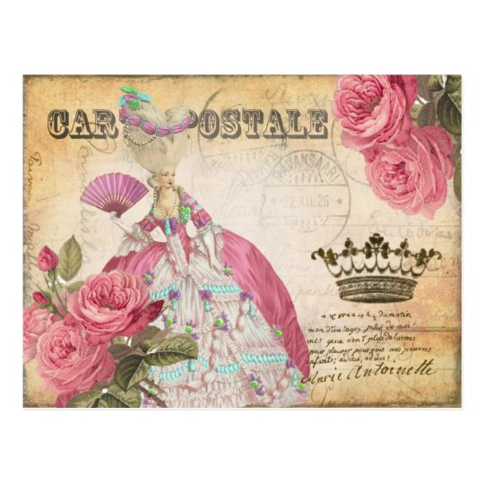 Marie Antoinette Gold Crown Rose Post Card