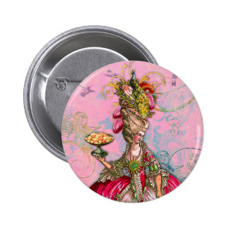 Marie Antoinette Hot Pink Peacock Pinback Button