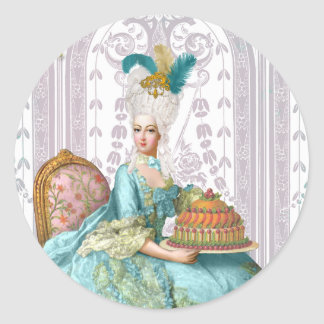 Marie Antoinette in Aqua Round Sticker