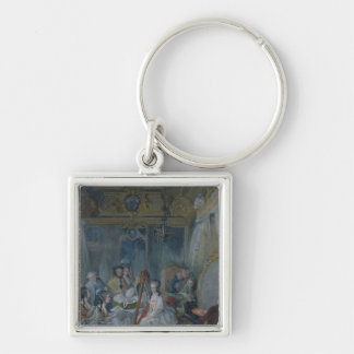 Marie Antoinette  in her chamber at Versailles Silver-Colored Square Key Ring