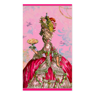 Marie Antoinette in Pink with Peacock Business Card Template