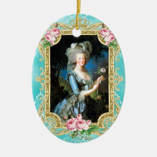 Marie Antoinette LeBrun Portrait Blue Damask Ornam Christmas
