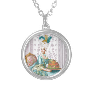 Marie Antoinette Let the eat Cake Silver Plated Necklace
